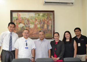 Fr. President, Fr. Peligro, and Dean Magbanua with the officials from Techshare after the MOA signing at the President's Conference Room