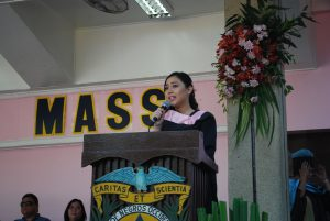 Ms. Inez Benedicto delivering her speech during the   Imposition of the Hood ceremony