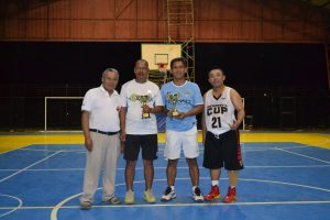 Runner-up: Mr. Adricula and Mr. Mercado with Fr. President and Fr. Gabinete, OAR
