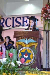 Ms. Karen Perartilla delivering her Valedictory Address during the Commencement exercises