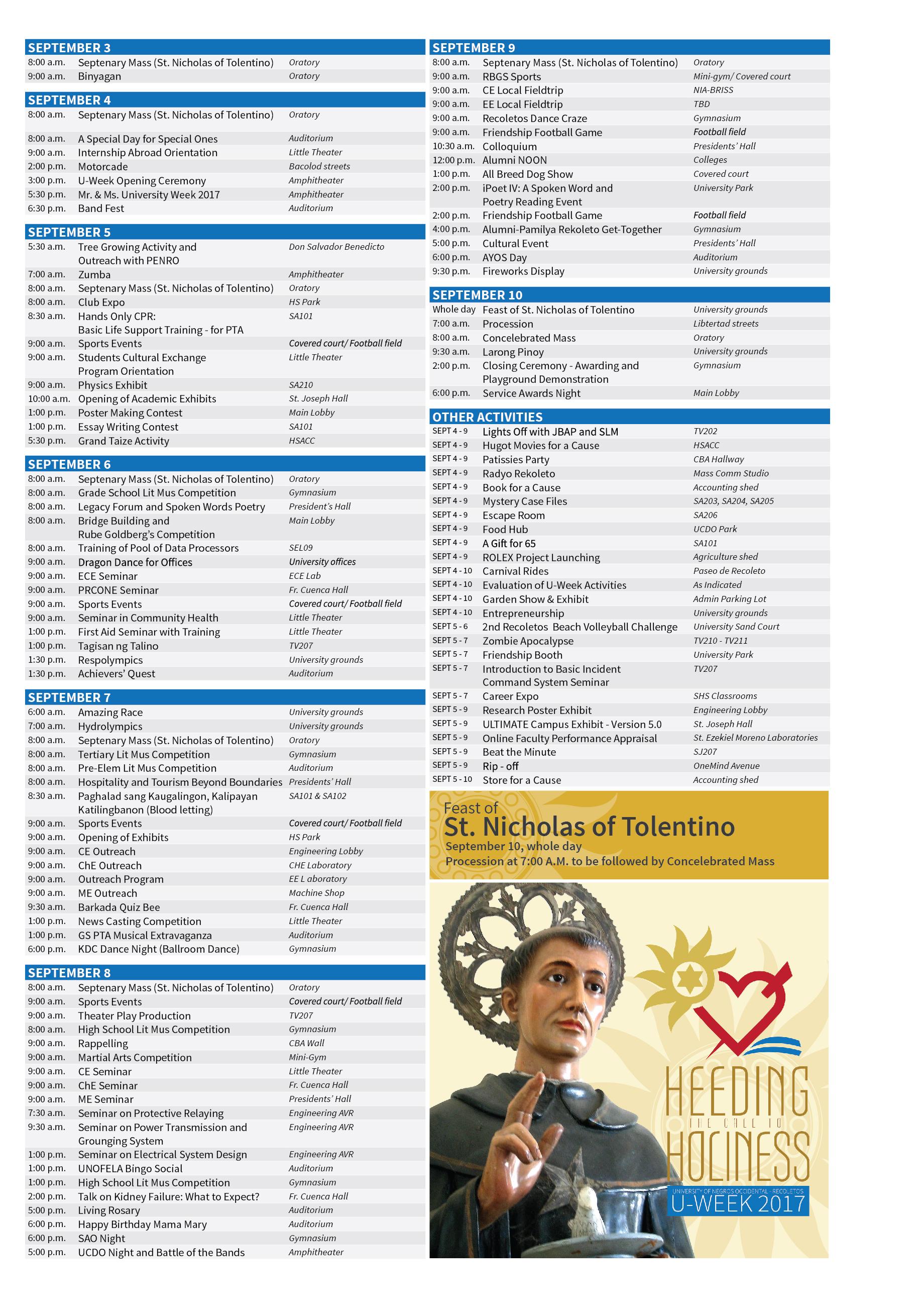 U-Week 2017 Schedule Small